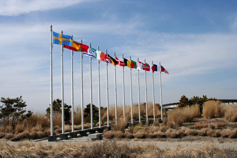 Grote oude vlaggen stock afbeeldingen