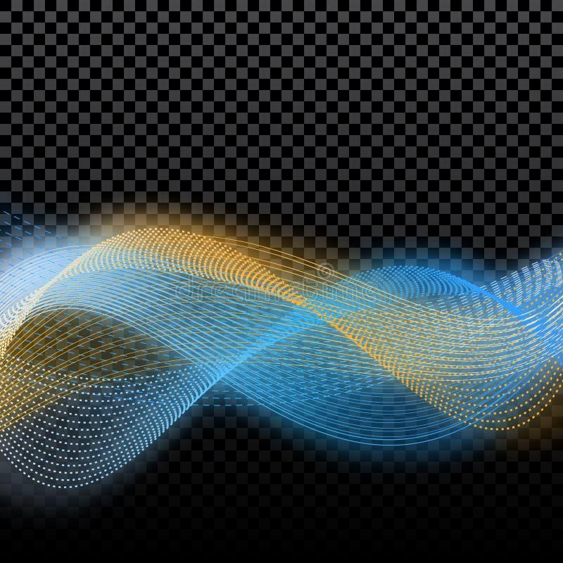 Grote partij en prestaties Abstracte afzonderlijke golven van gouden en blauw in de gloed van de gloed boventonen Op een controle vector illustratie