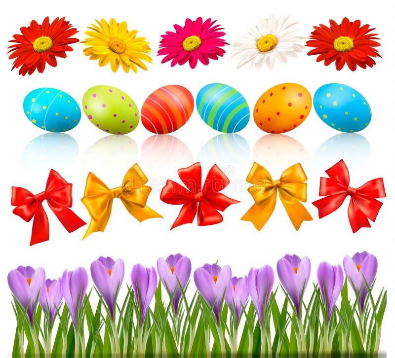 Grote Pasen die met traditionele eieren en bloemen wordt geplaatst royalty-vrije illustratie