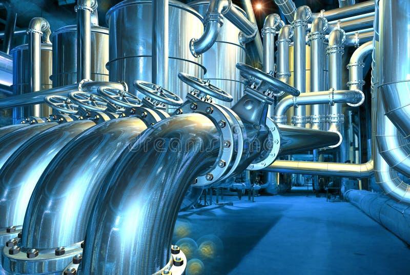 Grote pijpleiding in de abstracte raffinaderij vector illustratie