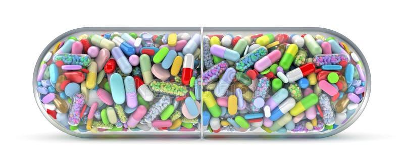 Grote pil die met kleurrijke pillen wordt gevuld vector illustratie