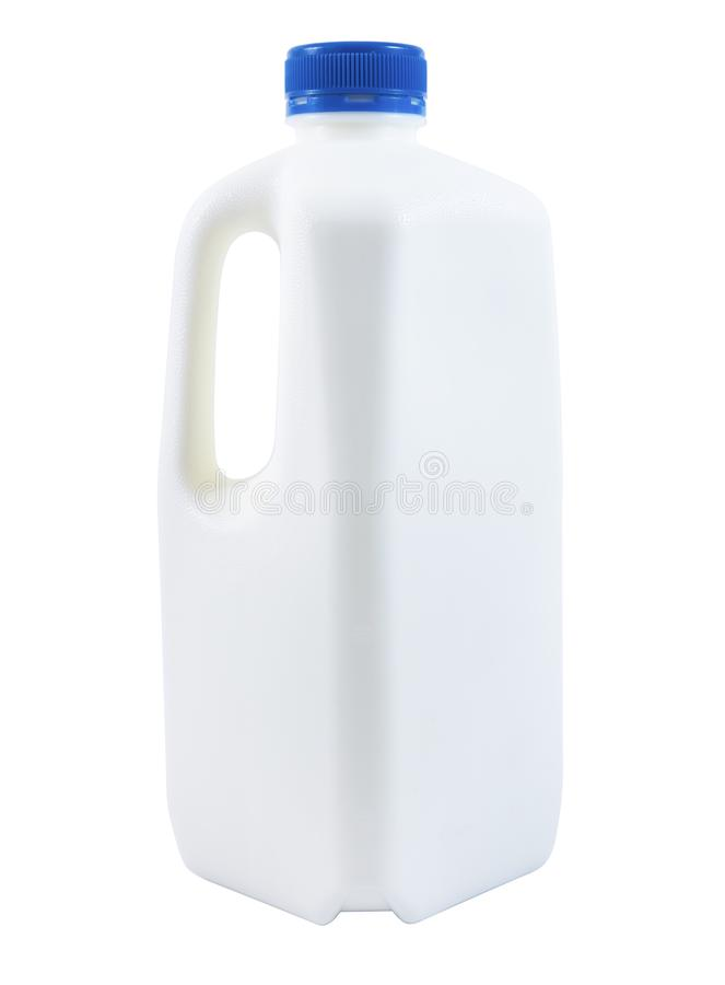Grote plastic fles geïsoleerde melk stock afbeeldingen