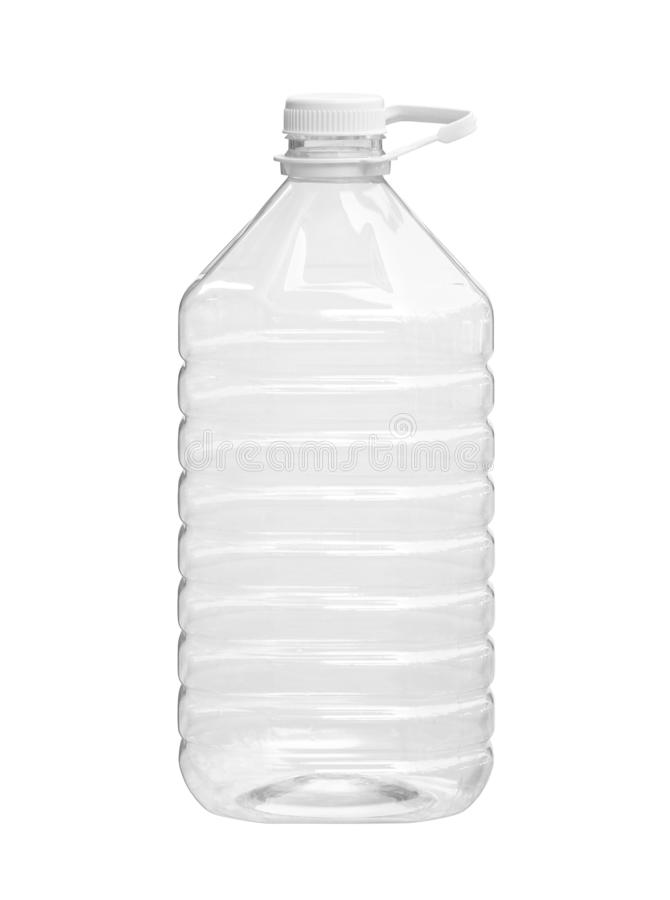 Grote plastic fles vloeibare verpakking stock fotografie