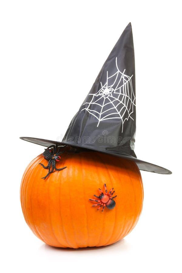 Grote pompoen met heksenhoed en spinnen stock foto's