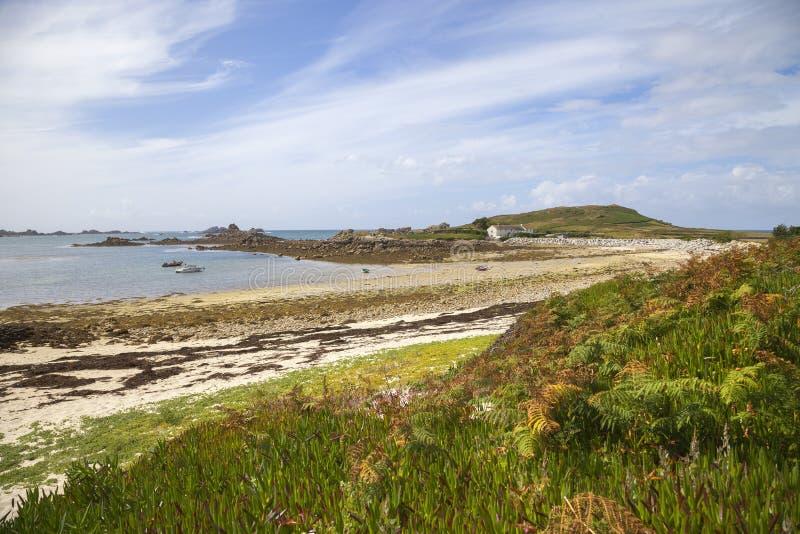 Grote Porth, Bryher, Eilanden van Scilly, Engeland royalty-vrije stock afbeelding