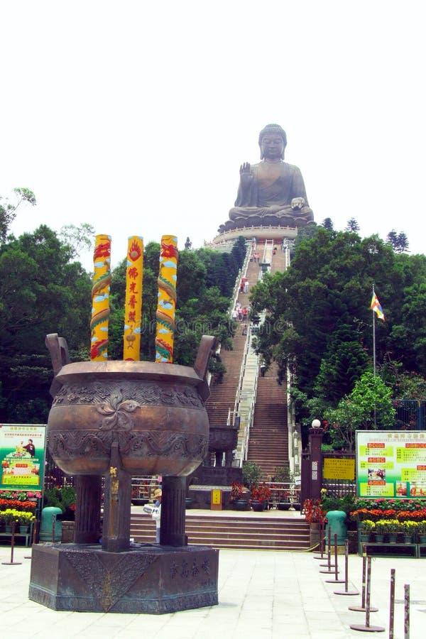 Grote pot van joss stokvoorzijde van Grote Boedha, op Lantau-Eiland royalty-vrije stock foto