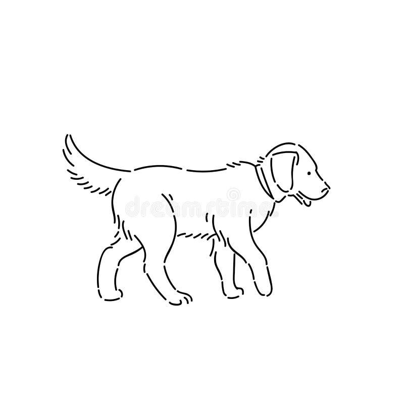 Grote rashond labrador retriever Van het de stijlkarakter van de lijnkunst de vector zwarte wit ge?soleerde illustratie royalty-vrije illustratie