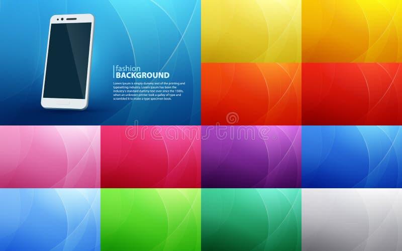 Grote reeks abstracte horizontale achtergronden van gebogen lijnen Geïsoleerde witte smartphone met een realistische schaduw Wi v stock illustratie