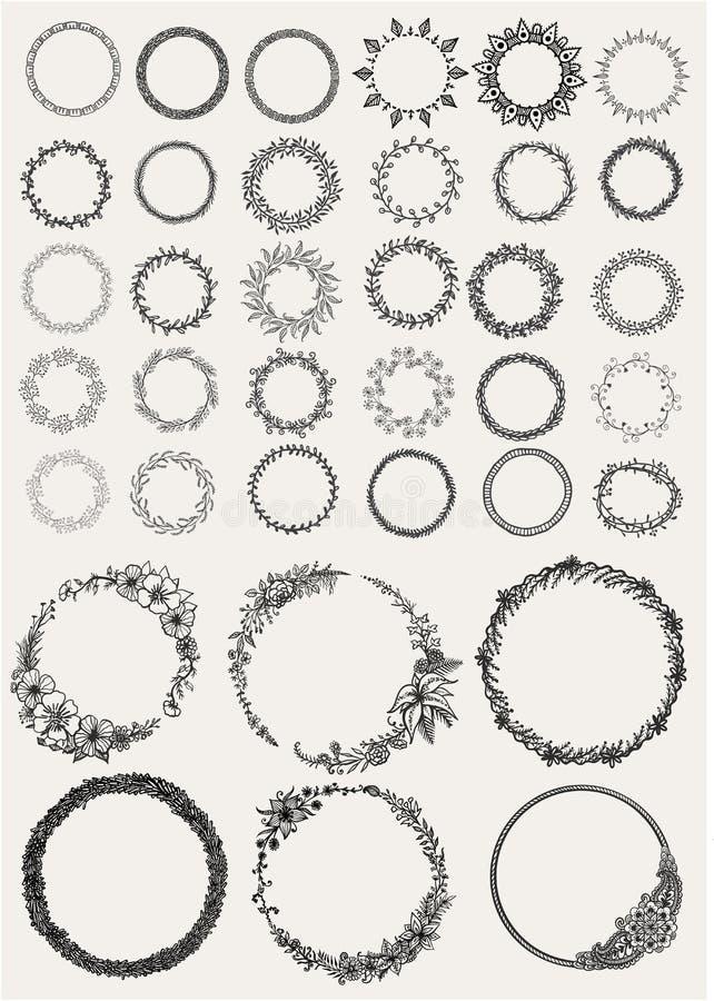 Grote reeks als de hand getrokken cirkels van Laurels en van kronen voor ontwerpelementen stock illustratie