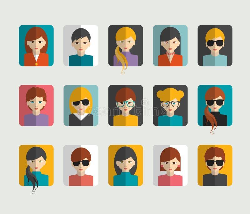 Grote reeks avatars vlakke pictogrammen van profielbeelden royalty-vrije illustratie