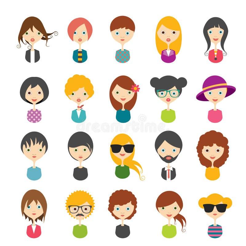 Grote reeks avatars vlakke pictogrammen van profielbeelden vector illustratie