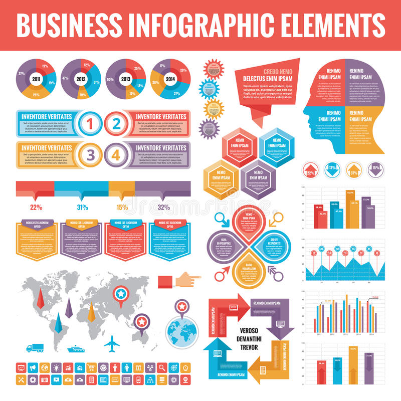Grote reeks bedrijfs infographic elementen voor presentatie, brochure, website en andere projecten Abstracte infographicsmalplaat royalty-vrije illustratie
