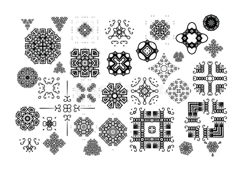 Grote reeks decoratieve elementen stock illustratie