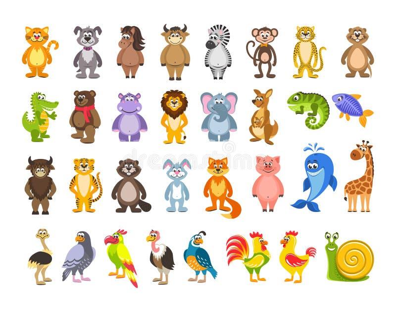 Grote reeks dieren en vogels Leeuw, kangoeroe, leguaan, vissen, hazen, varken, giraf, struisvogel, slak royalty-vrije illustratie