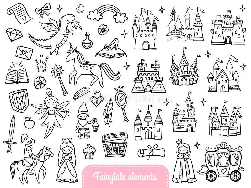 Grote reeks een maniersprookje en magische die voorwerpen op witte achtergrond wordt geïsoleerd royalty-vrije illustratie