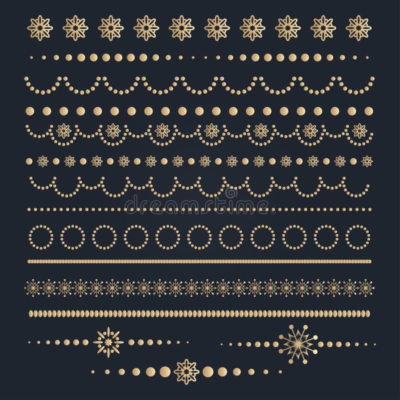 Grote reeks elementen van het Kerstmis kalligrafische ontwerp vector illustratie