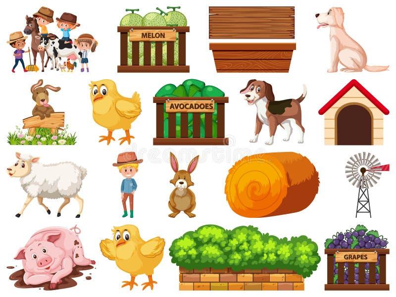 Grote reeks geïsoleerde landbouwbedrijfvoorwerpen royalty-vrije illustratie