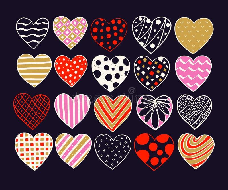 Grote reeks hand getrokken harten Vector de schetskrabbel van Valentine Grafische ontwerpelementen In texturen, lijnen, punten stock illustratie