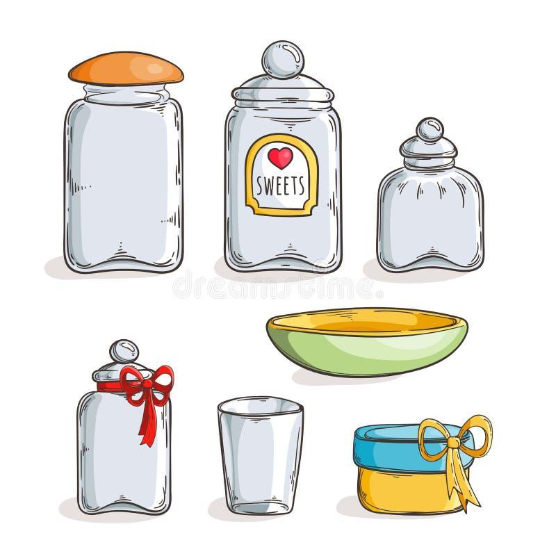 Grote reeks handdrawn glaskruiken stock illustratie