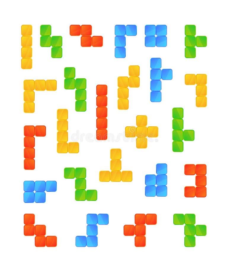 Grote reeks heldere kleurrijke stukken van het tetrisspel op wit royalty-vrije illustratie