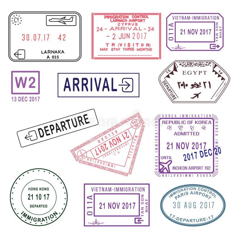 Grote reeks Internationale die zegels van het reisvisum op wit wordt geïsoleerd T vector illustratie