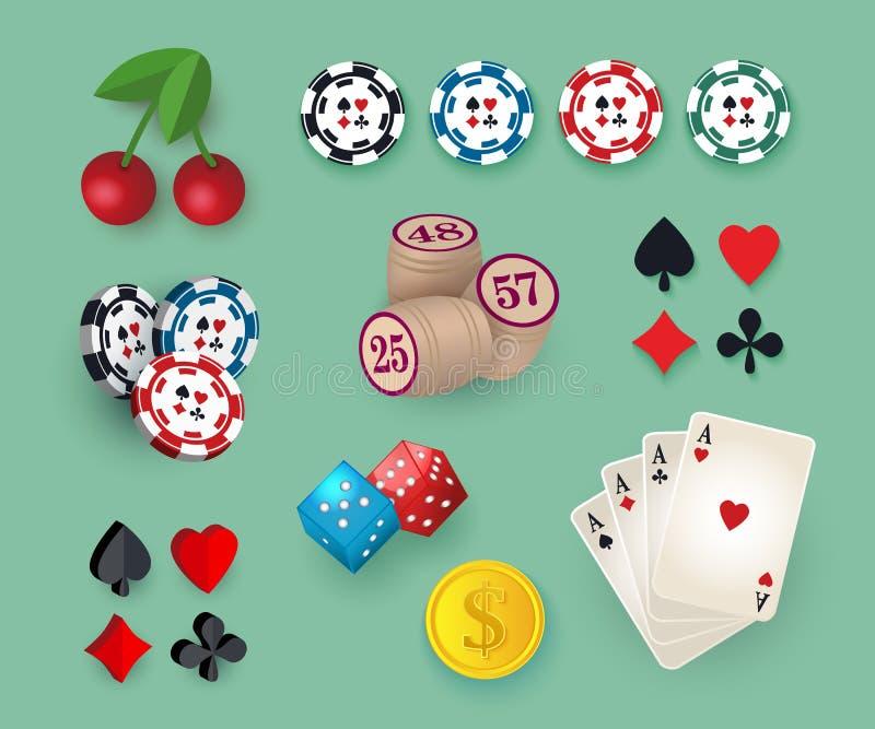 Grote reeks, inzameling van casino, het gokken symbolen royalty-vrije illustratie