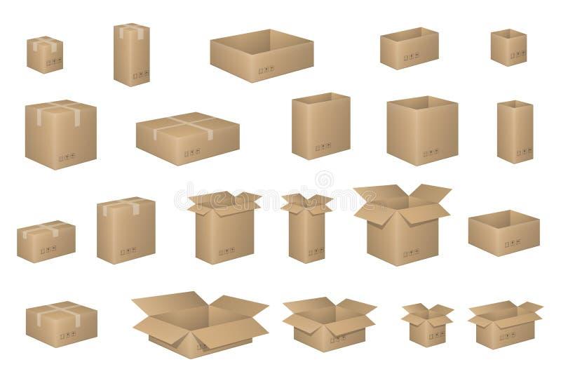 Grote Reeks isometrische kartondozen op wit Kartondoos door lagen wordt georganiseerd die Vectorillustratie van verpakking royalty-vrije illustratie