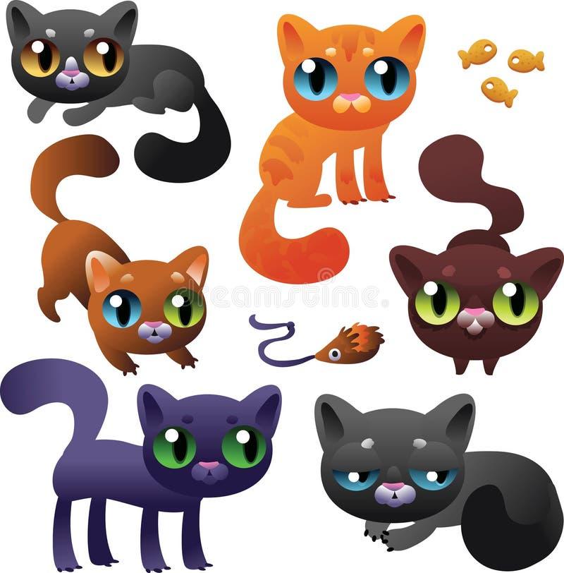 Grote Reeks Katten van het Beeldverhaal vector illustratie