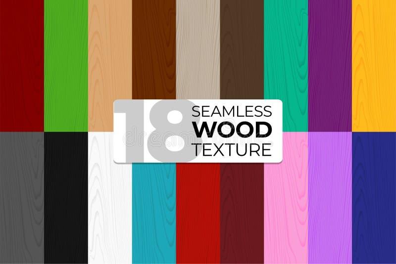 Grote reeks kleur en zwart-wit vector naadloze patronen Houten textuur Vectorillustratie voor affiches, achtergronden stock illustratie