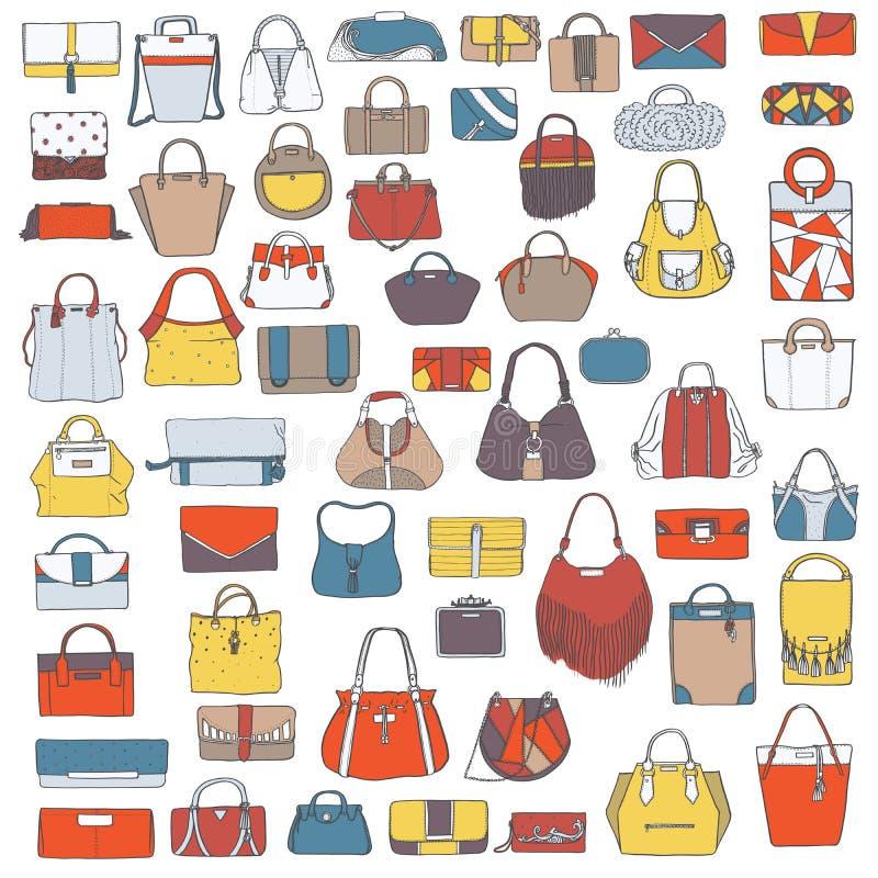 Grote reeks kleurrijke die zakken van de krabbelmanier, hand met zwarte geïsoleerde inkt, op witte achtergrond wordt getrokken Il royalty-vrije illustratie