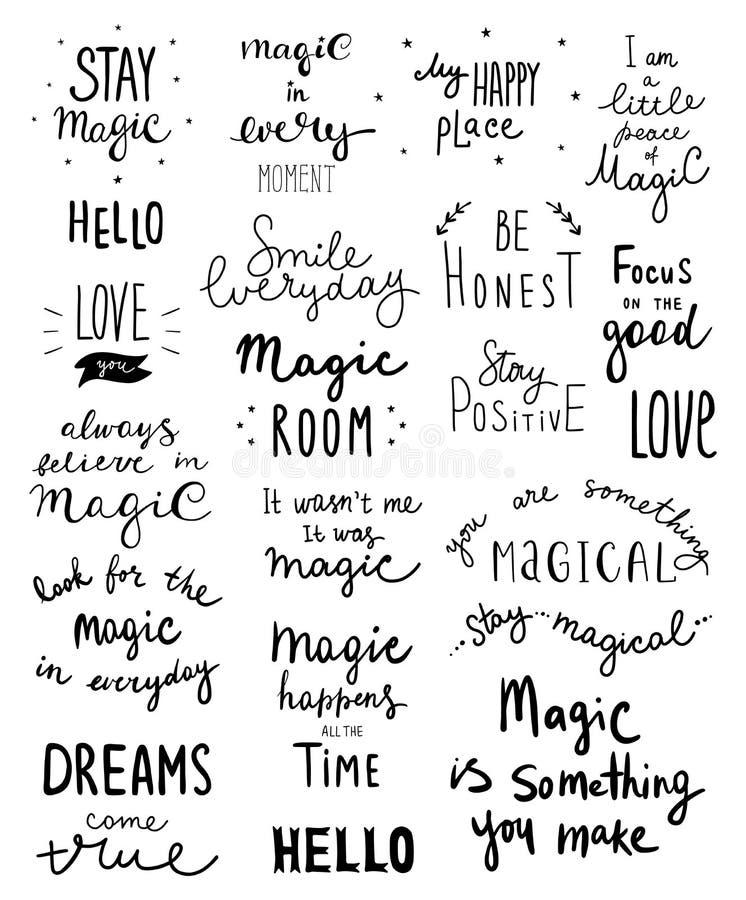 Grote reeks magische het van letters voorzien uitdrukkingen en woorden vectorillustratie - Vector stock illustratie