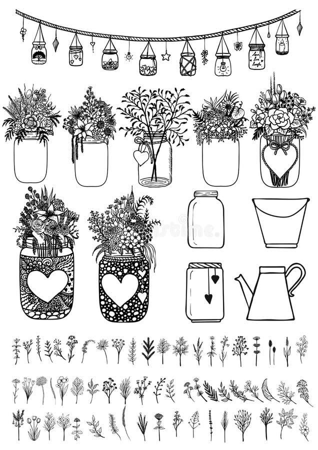 Grote reeks metselaarkruiken en wilde bloemen voor ontwerpelement voor huwelijkskaarten, giftkaart, Valentijnskaartenkaart etc. V vector illustratie