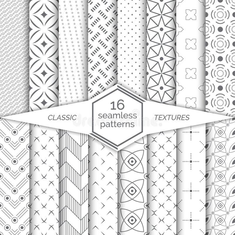 Grote reeks naadloze patronen Klassieke eenvoudige texturen Regelmatig herhalend geometrische het verpakken oppervlakten met ruit vector illustratie