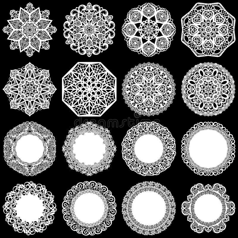 Grote reeks ontwerpelementen, kant om document doily, doily om de cake, malplaatje voor knipsel, groetelement te verfraaien, snow vector illustratie