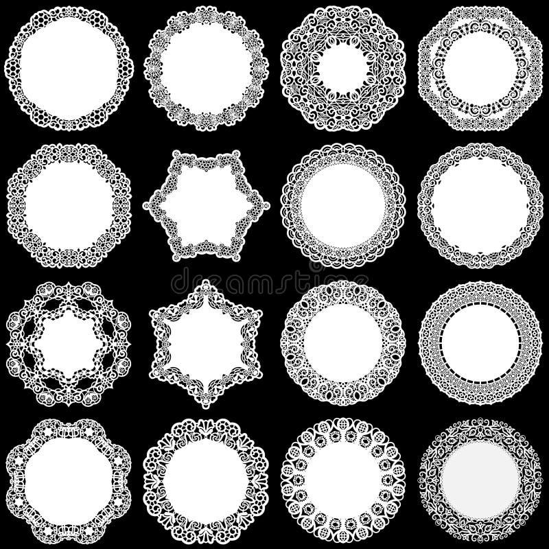 Grote reeks ontwerpelementen, kant om document doily, doily om de cake, malplaatje voor knipsel, groetelement, laser c te verfraa vector illustratie