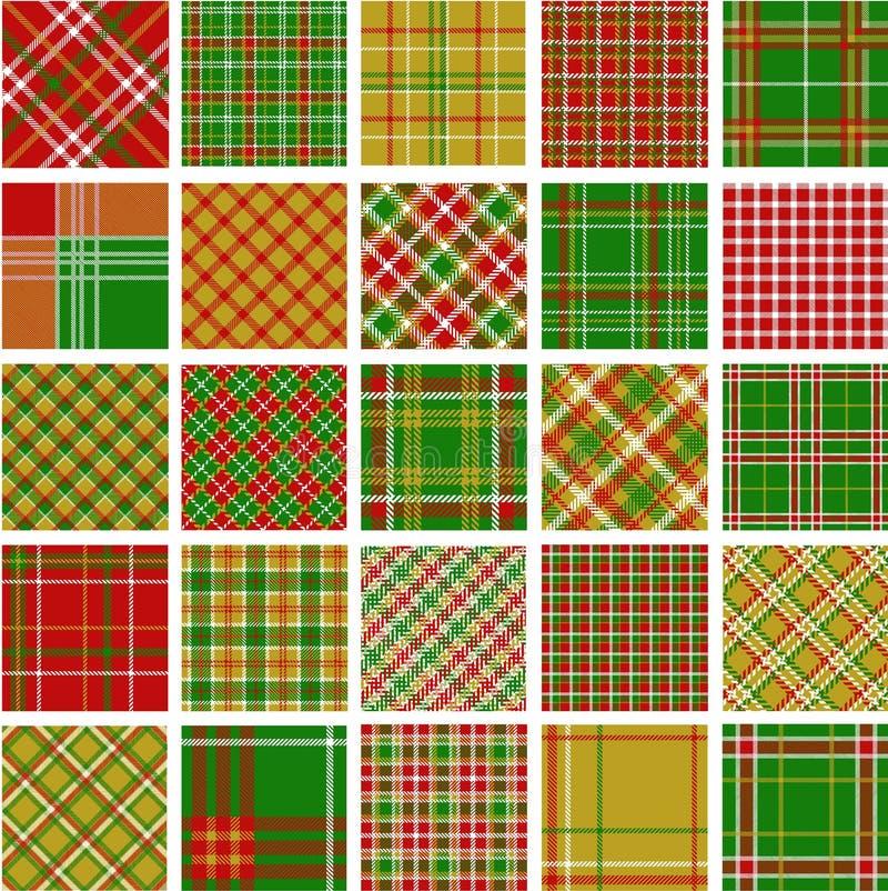 Grote reeks patronen van de Kerstmisplaid vector illustratie