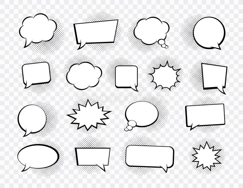 Grote reeks toespraakbellen Retro lege grappige bellen stickers Vector illustratie royalty-vrije illustratie