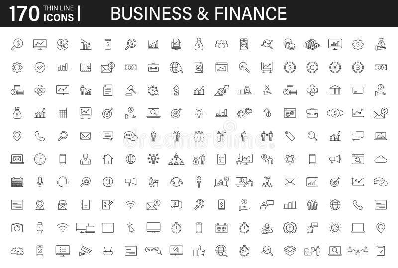 Grote reeks van 170 Bedrijfs en Financiënwebpictogrammen in lijnstijl Geld, bank, infographic contact, Bruikbaar voor Webontwerp