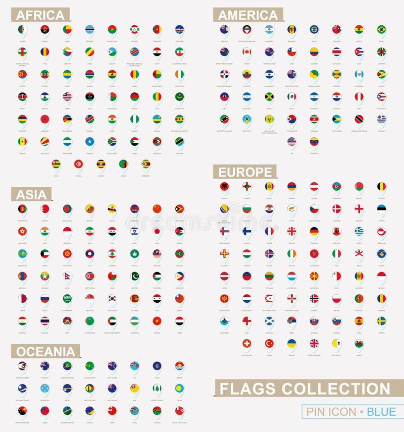 Grote reeks van blauw speldpictogram met vlaggen van alfabetisch gesorteerd Afrika, Azië, Oceanië, Amerika en Europa stock illustratie