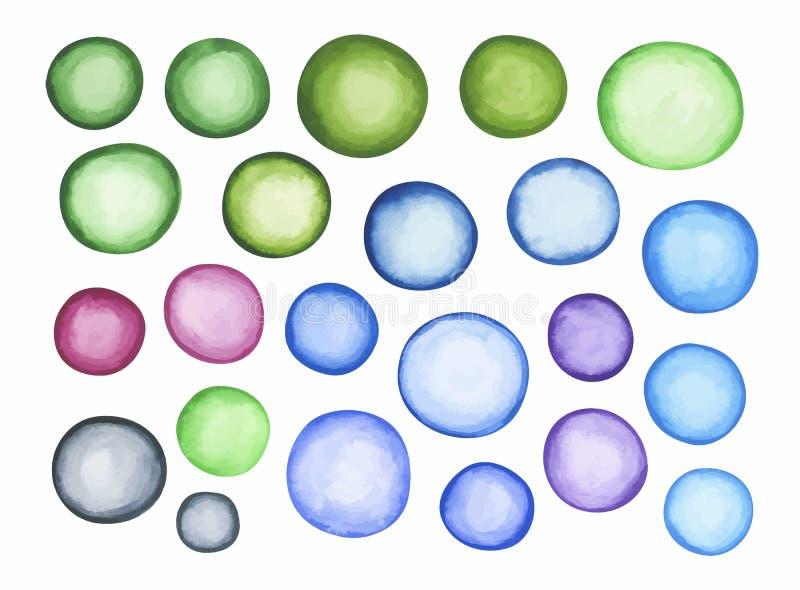 Grote reeks van blauwgroen waterverfetiket vector illustratie