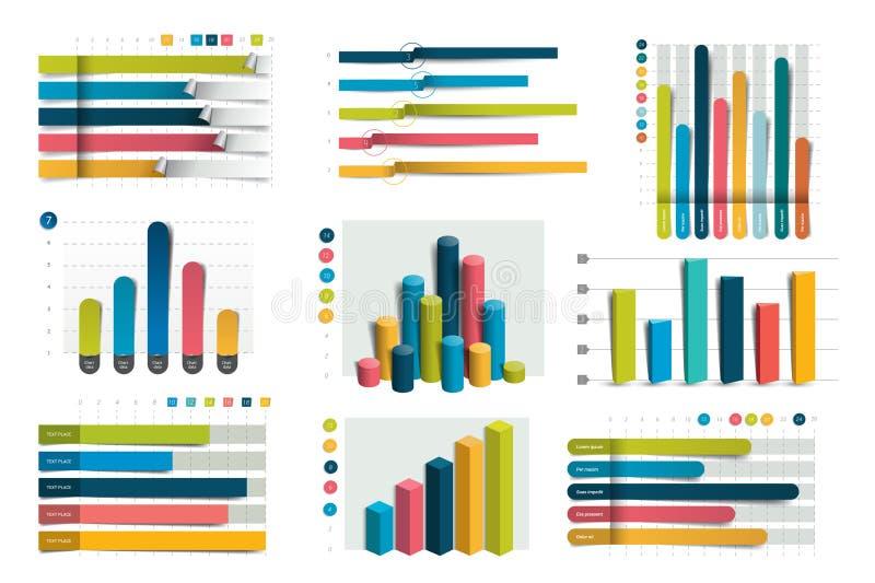 Grote reeks van charst, grafieken Blauwe kleur vector illustratie