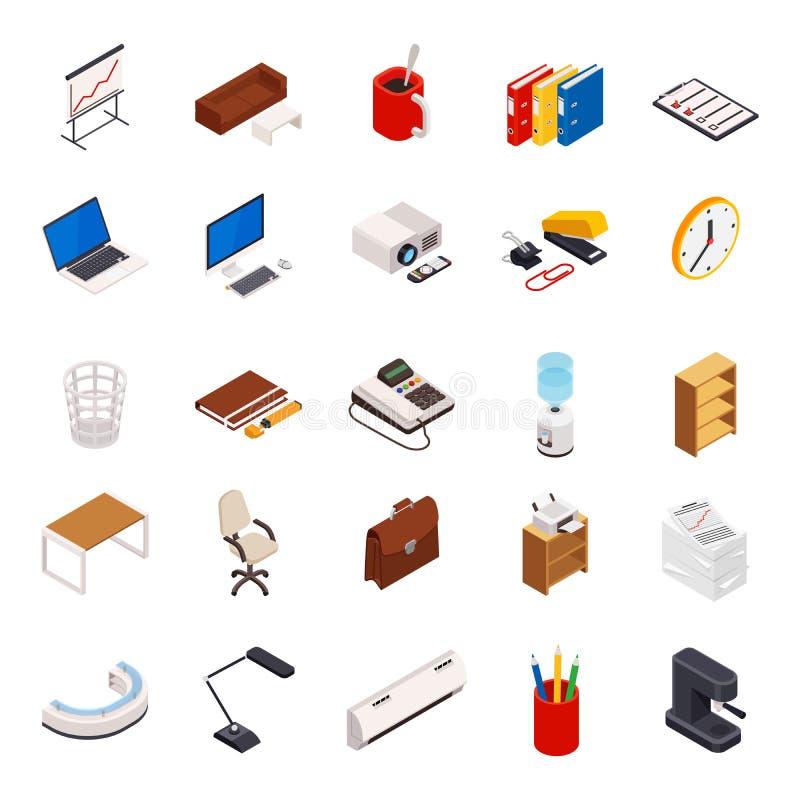 Grote reeks van 3D isometrische volumetrisch van pictogrammen op een thema van kantoorbenodigdheden vector illustratie
