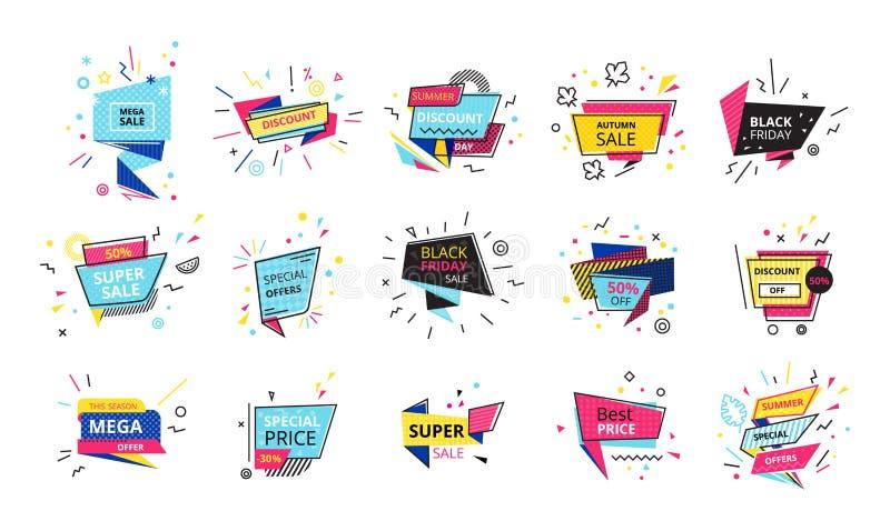 Grote reeks van de reclame van stickers, banners, etiketten, kortingen, bevorderingen, verkoop stock illustratie