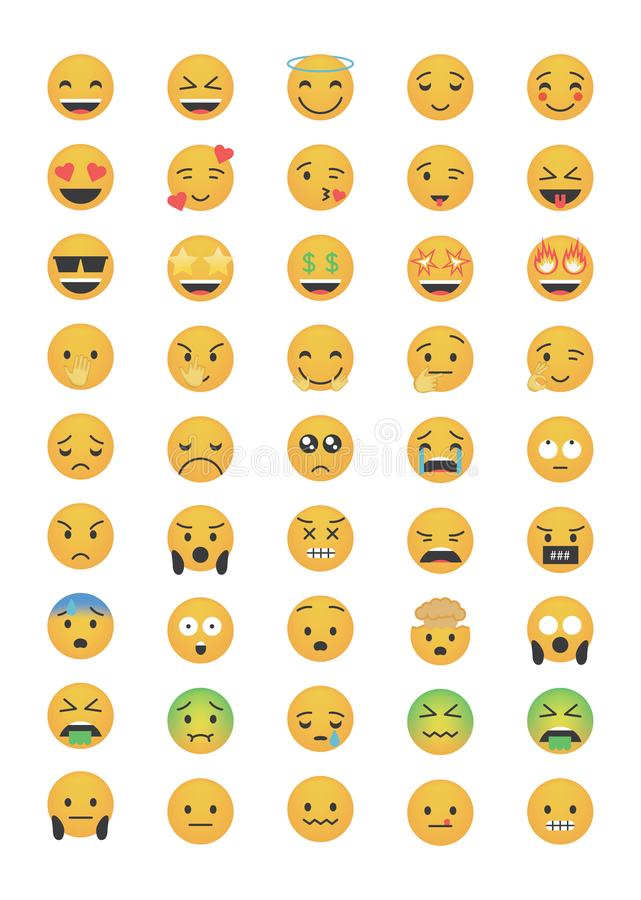 Grote reeks van emoticonvector stock illustratie