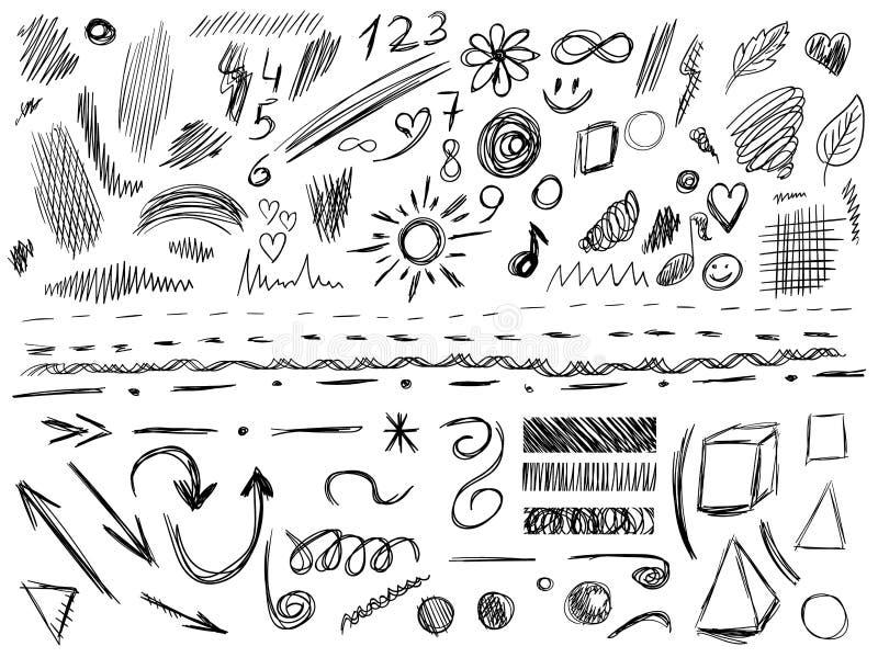 Grote reeks van 105 hand-geschetste ontwerpelementen, VECTORillustratie die op wit wordt geïsoleerd Zwarte gekrabbellijnen royalty-vrije illustratie