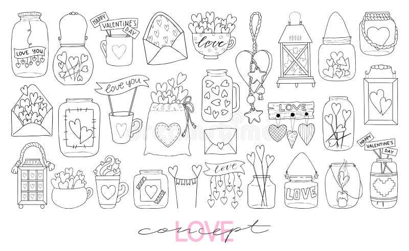 Grote reeks van hand getrokken vectorillustratie van een metselaarkruik, liefdebrief, topper, zak, mok, decoratief stuk speelgoed vector illustratie