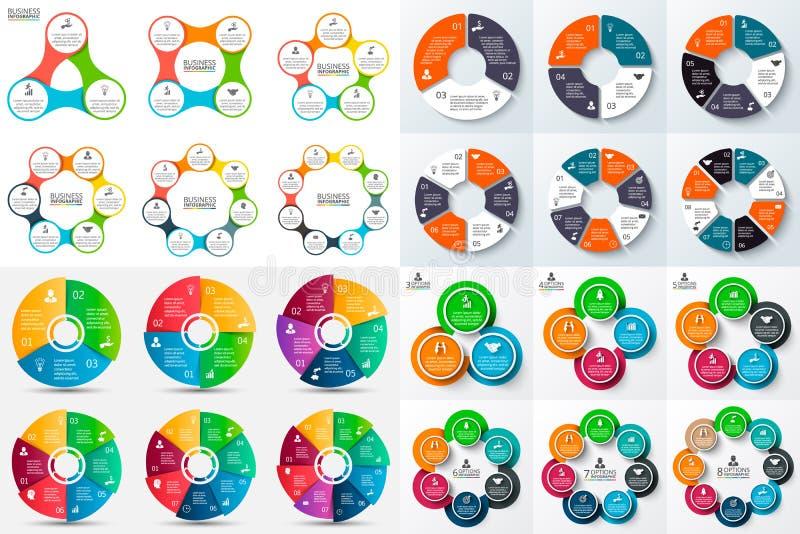 Grote reeks van infographic vectorcirkel stock illustratie