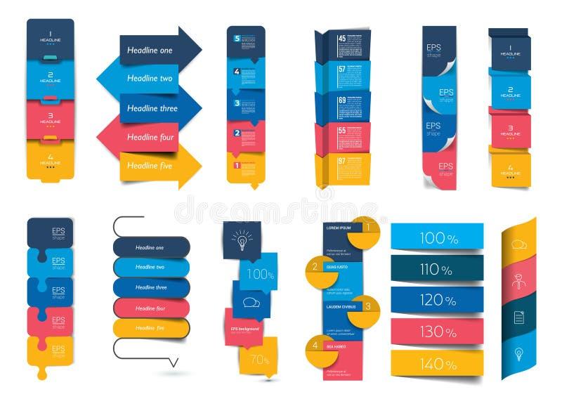 Grote reeks van infographics stap voor stap vector illustratie