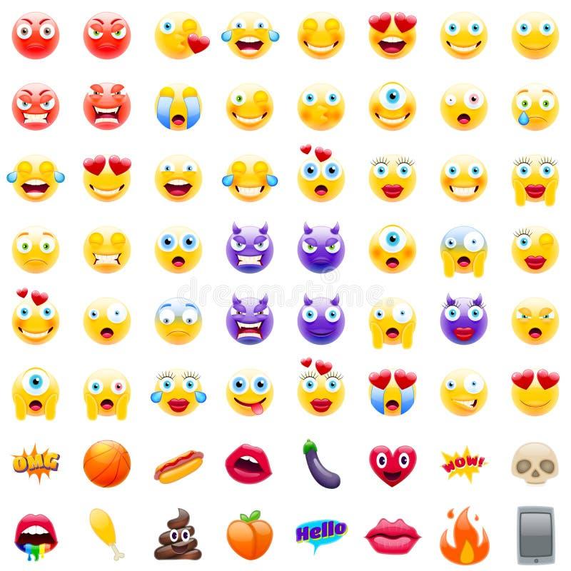 Grote Reeks van Moderne Emojis stock illustratie