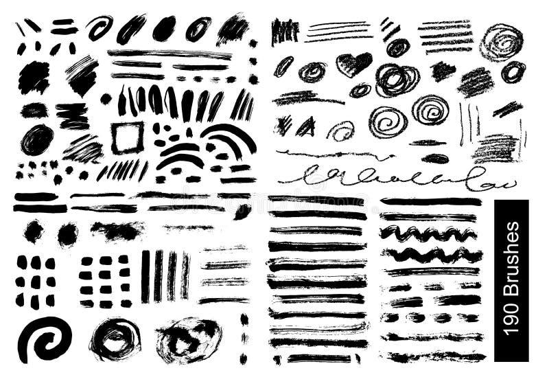Grote reeks van 190 objecten Vectorborstels royalty-vrije illustratie
